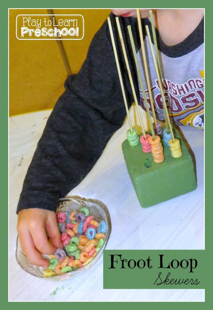 Color sorting center activity with fruit loops, fine motor practice