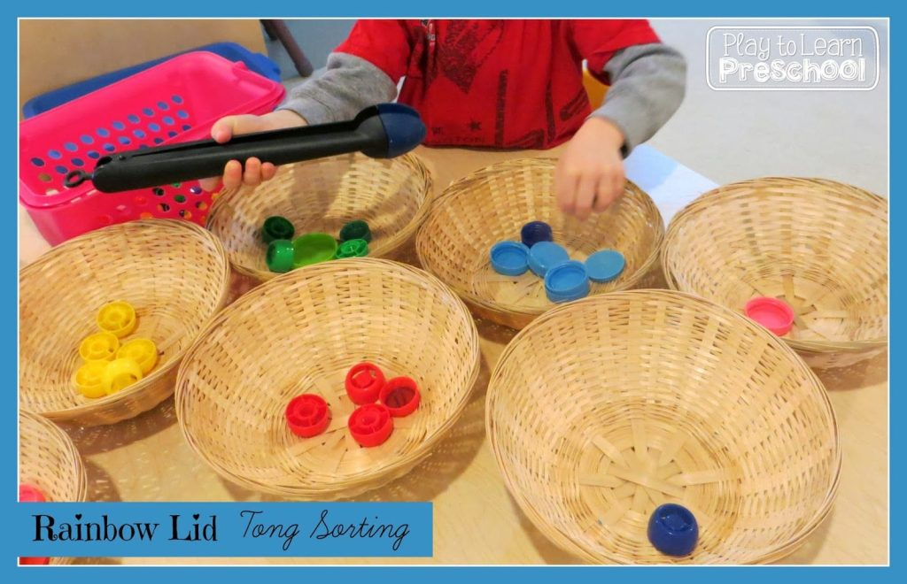 Color sorting activity, fine motor practice