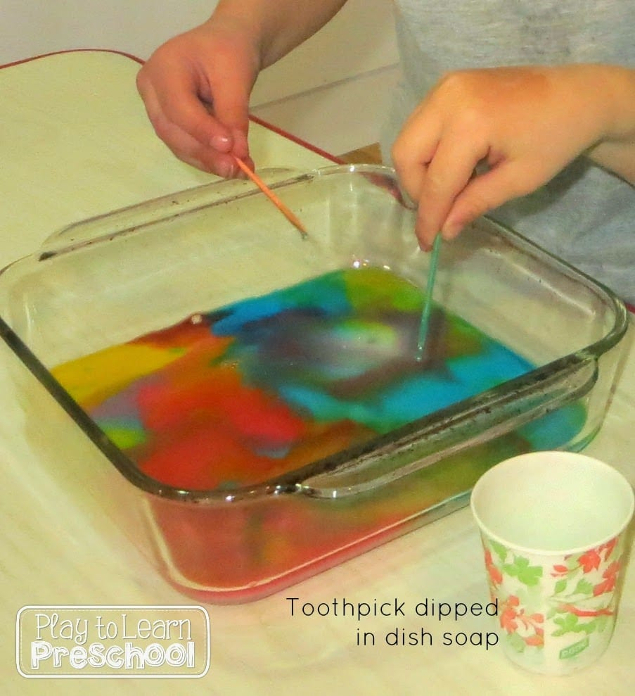 milk, food coloring and dish soap
