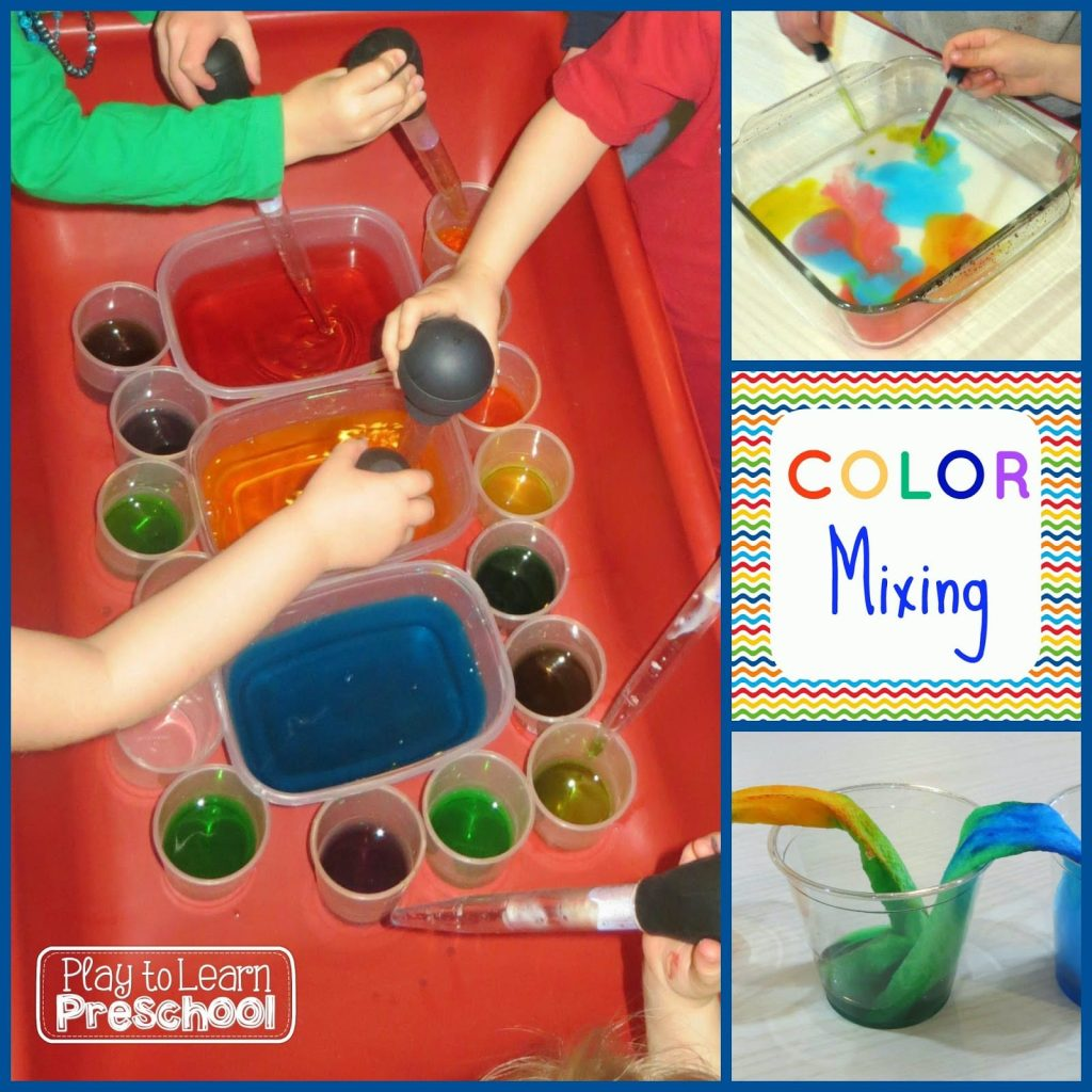 mixing colors in preschool