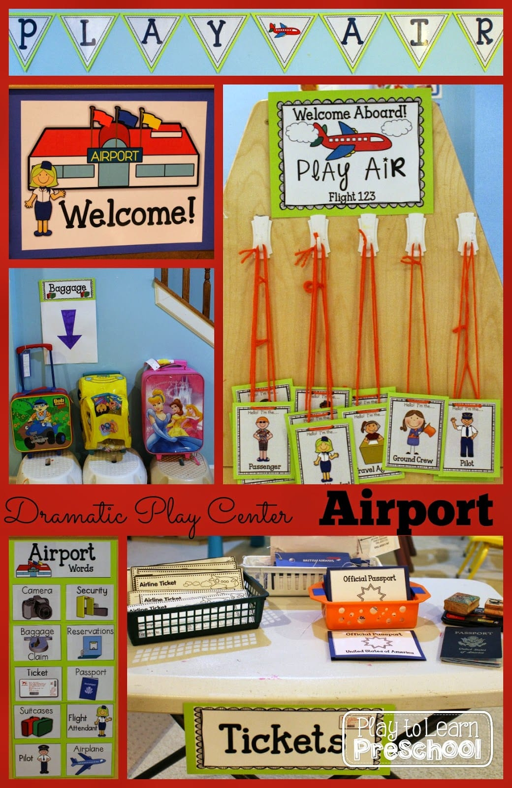 airport dramatic play center play to learn
