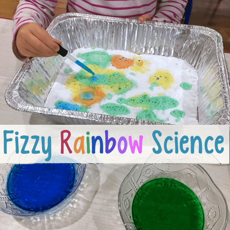 Fizzy Rainbow Science Activity for Preschoolers