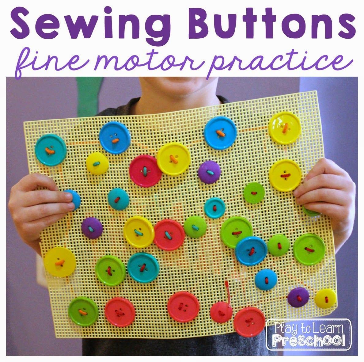 Sewing buttons fine motor practice for Fine motor activities for kindergarten