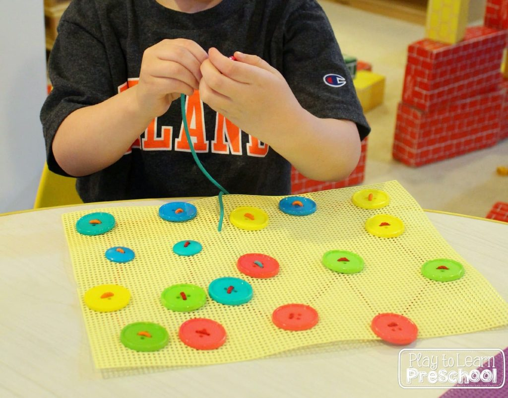 Learn to sew buttons fine motor activity for preschoolers for Motor activities for preschoolers