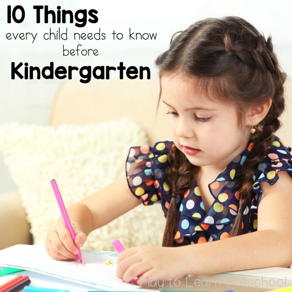 Things Children need to Know before Kindergarten