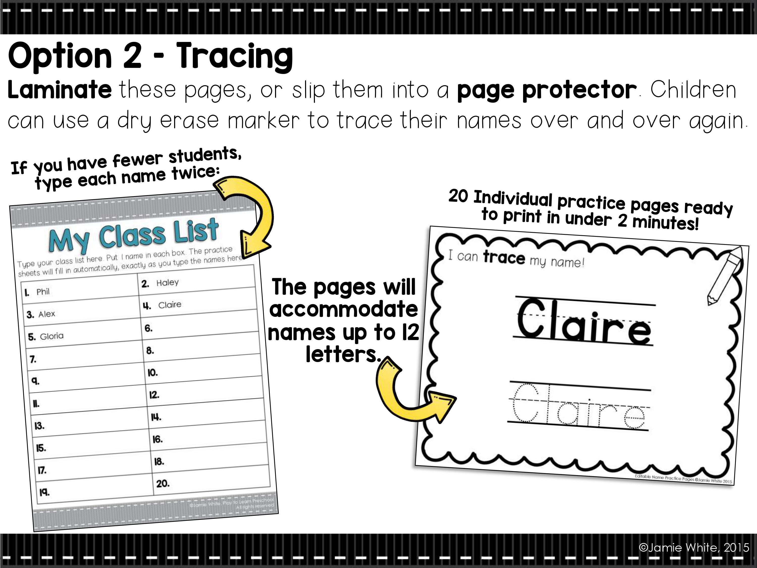 Writing our Names Play to Learn – Trace Your Name Worksheets