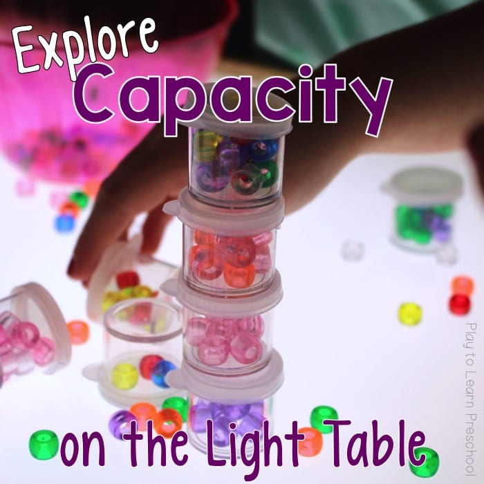 Light Table Capacity Math Measurement for Preschoolers