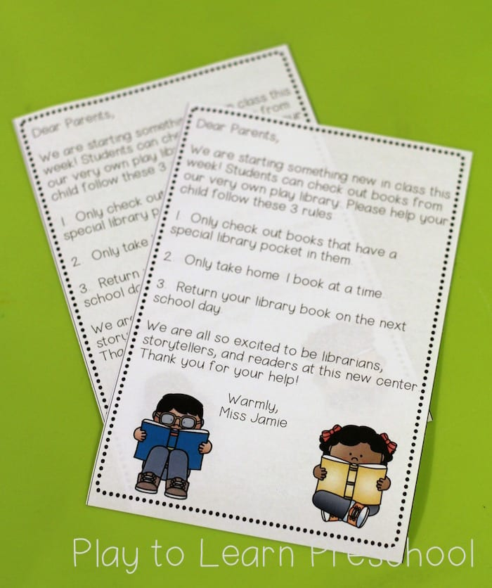 Library Dramatic Play Parent Letter