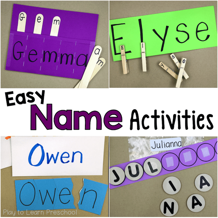 Easy, Do-It-Yourself Name Activities for Preschoolers