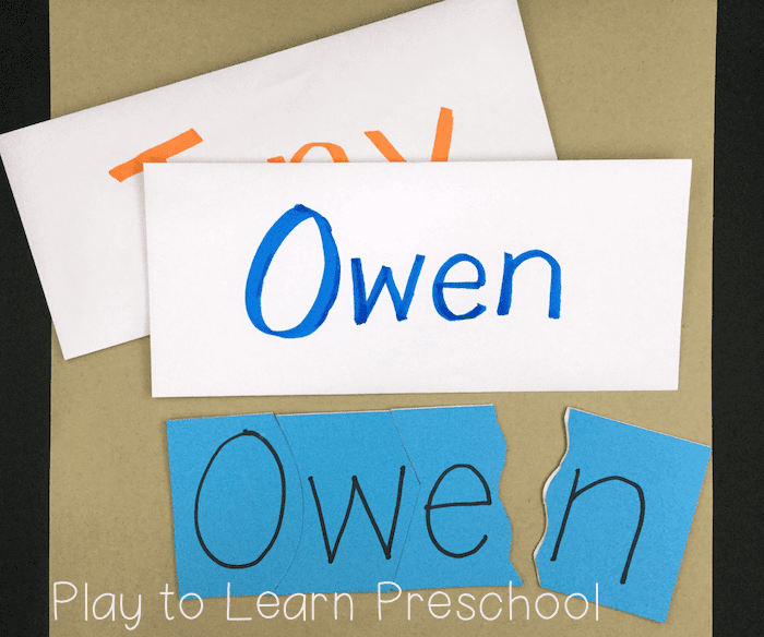 Name Activities for Preschoolers