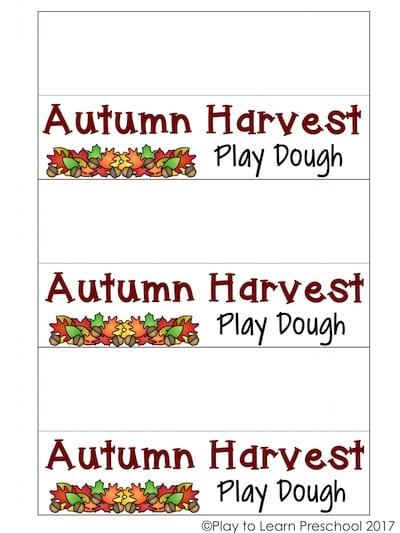 Autumn Harvest Play Dough Tags