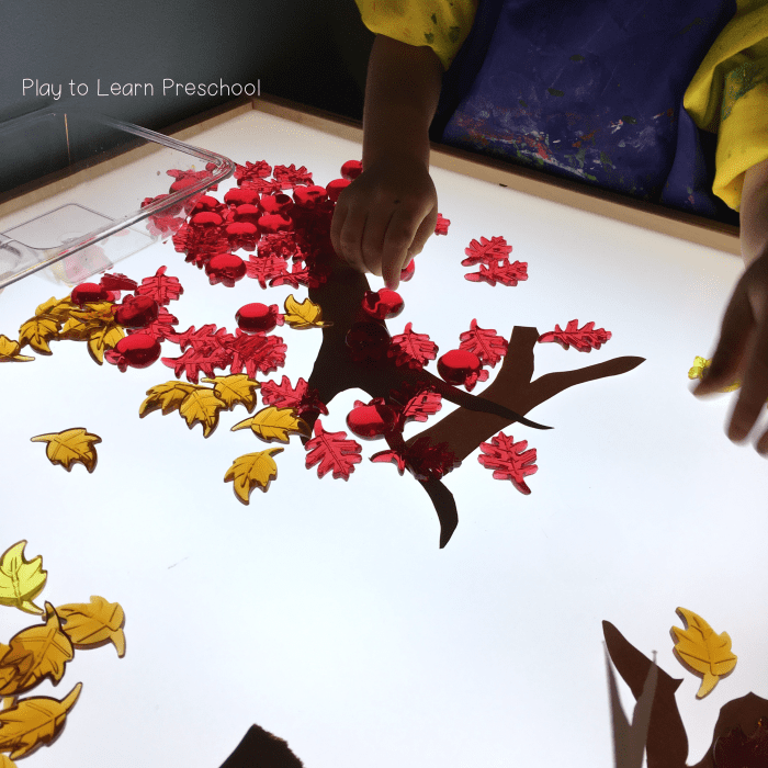 Autumn Fall Tree Design on the Light Table