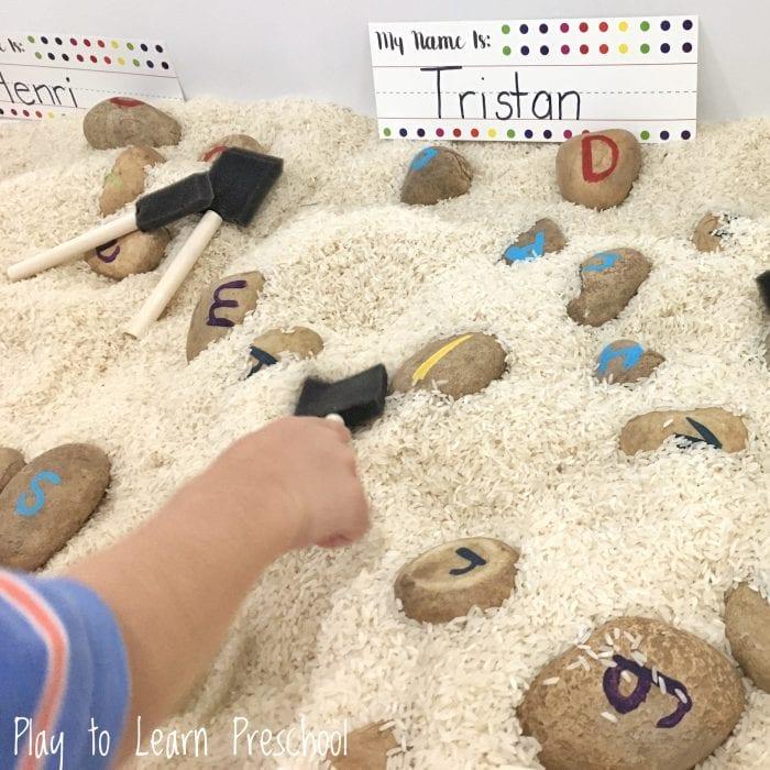 SENSORY play rice letter rocks