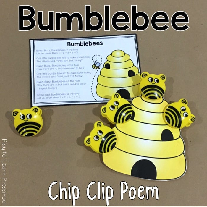 Bumblebee Chip Clip printable poem