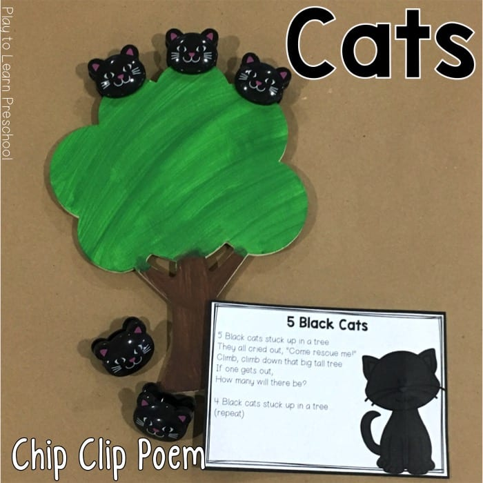 5 Black Cats printable chip clip poem