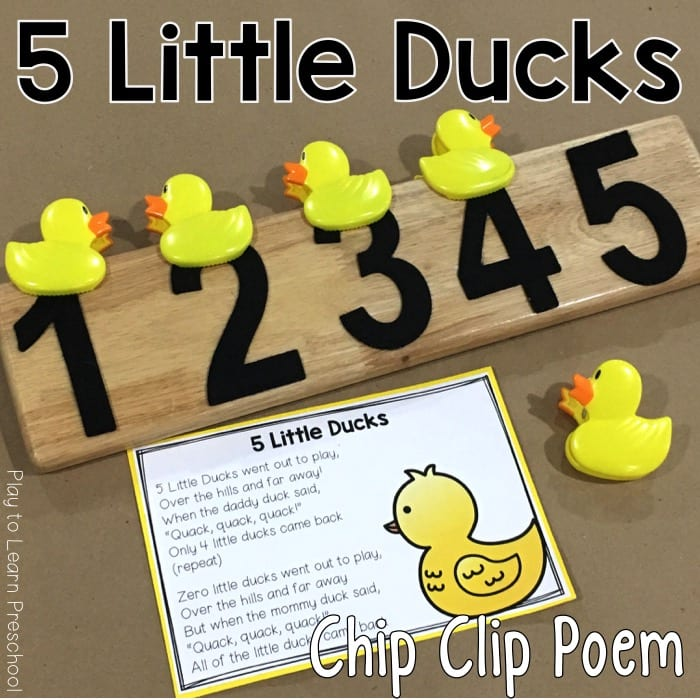 5 Little Ducks Printable Poem