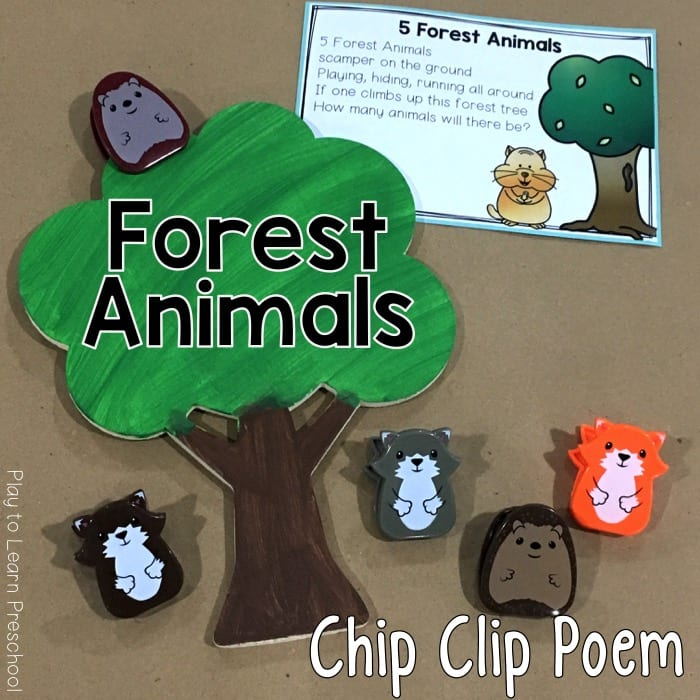Forest Animals Woodland Animals Chip Clip Poem