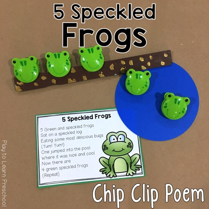 5 Green Speckled Frogs Chip Clip Poem