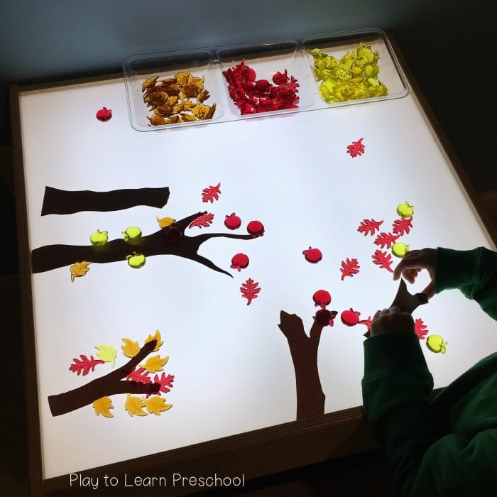 Autumn Tree art on light table