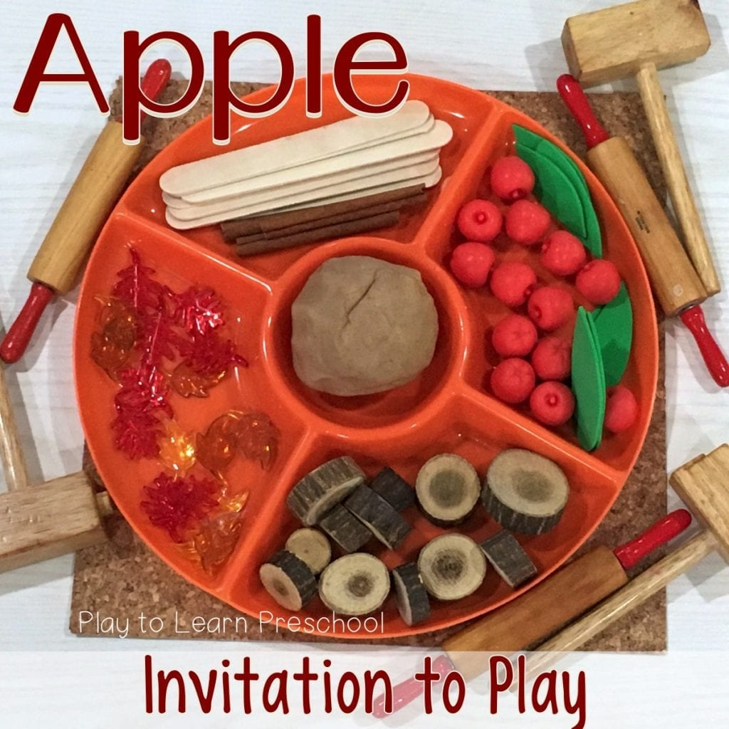 Apple Play Dough Tray