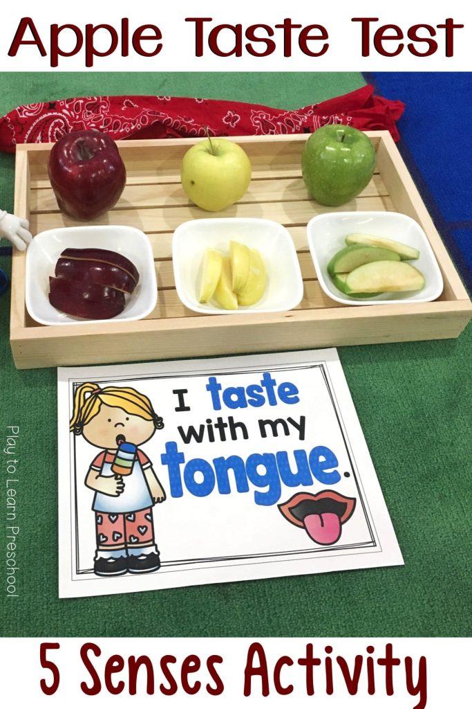 Apple Taste Test Five Senses Activity for Preschoolers