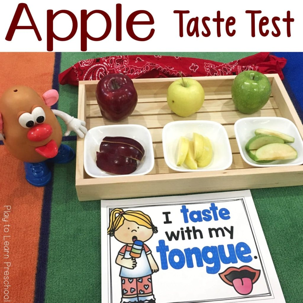 Apple Taste Test Five Senses Activity for Preschoolers