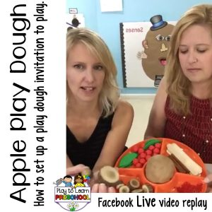 Preschool Process Art Apple Play Dough invitation to play