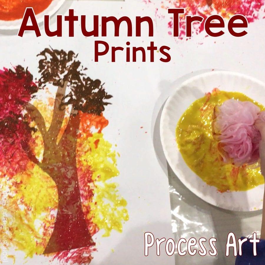 Autumn Tree Print Process Art Project for Preschoolers