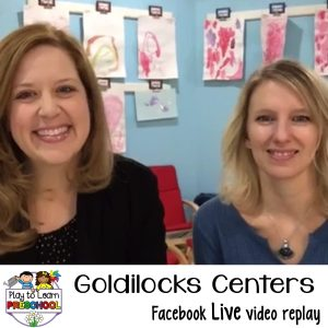 Goldilocks fairy tale centers for preschoolers