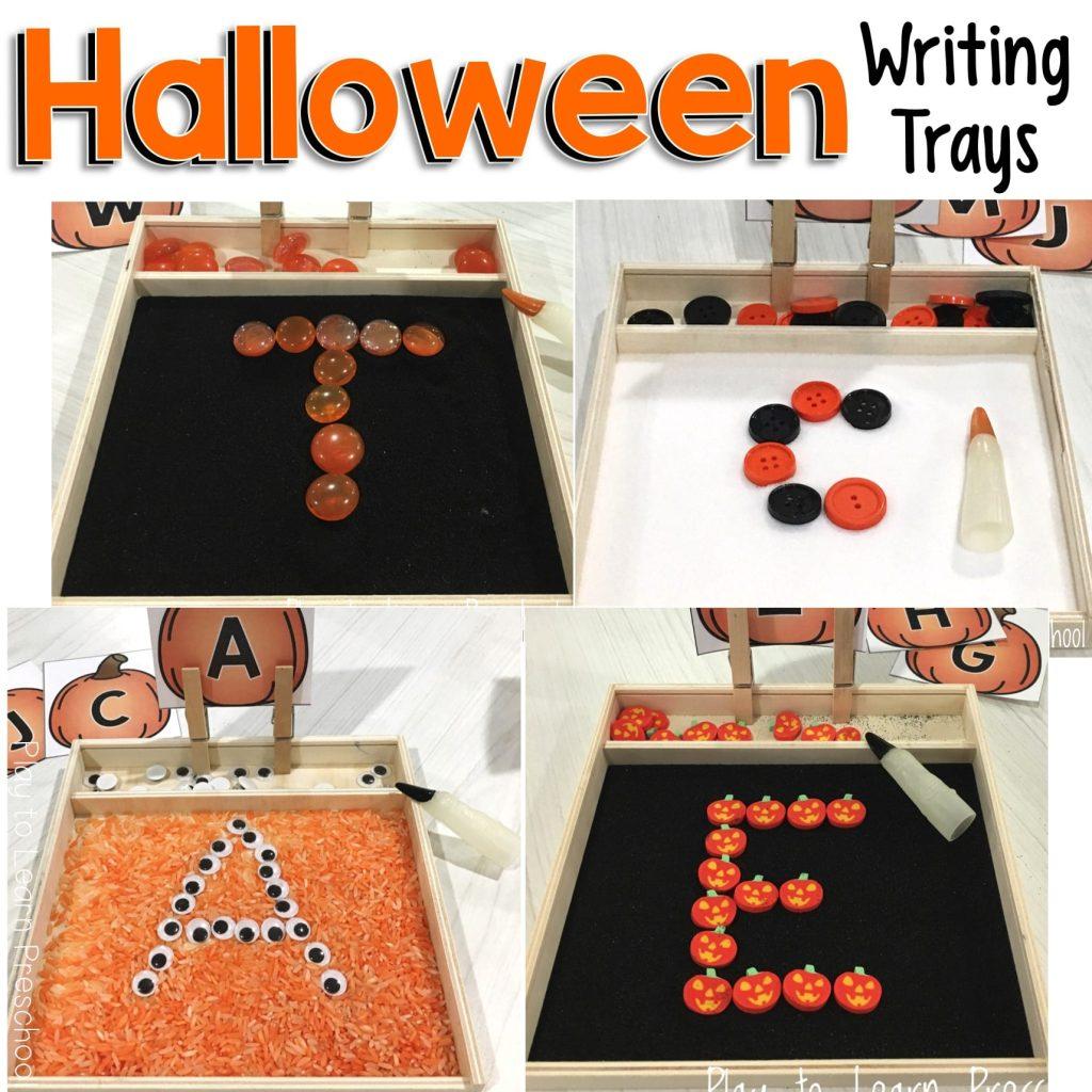 Halloween Writing Trays - Sensory Alphabet Practice for October