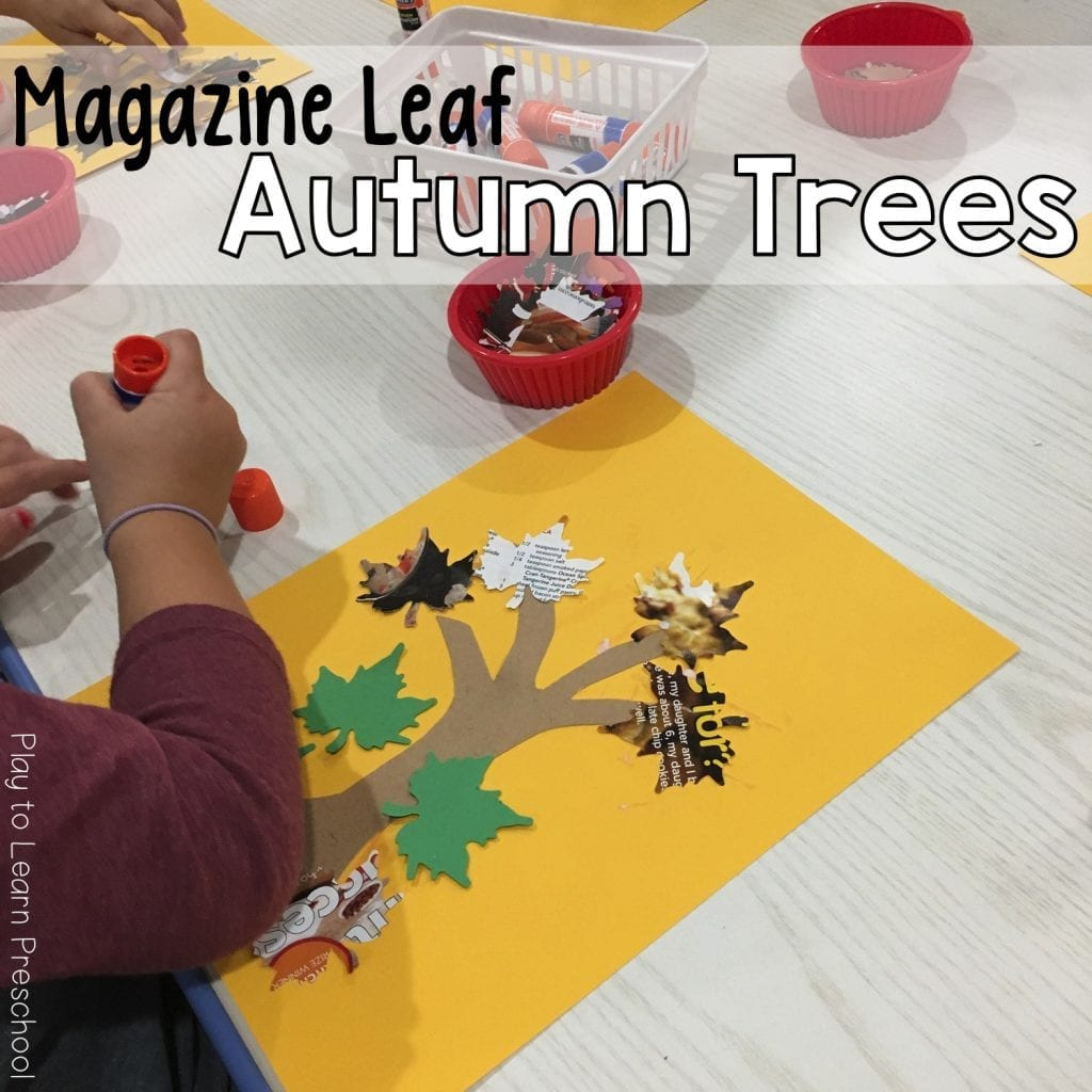 Magazine Leaf Trees Learn to use a Glue Stick Art Project