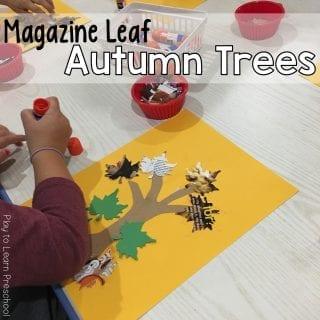 Magazine Leaf Trees Learn to use a Glue Stick Art Project