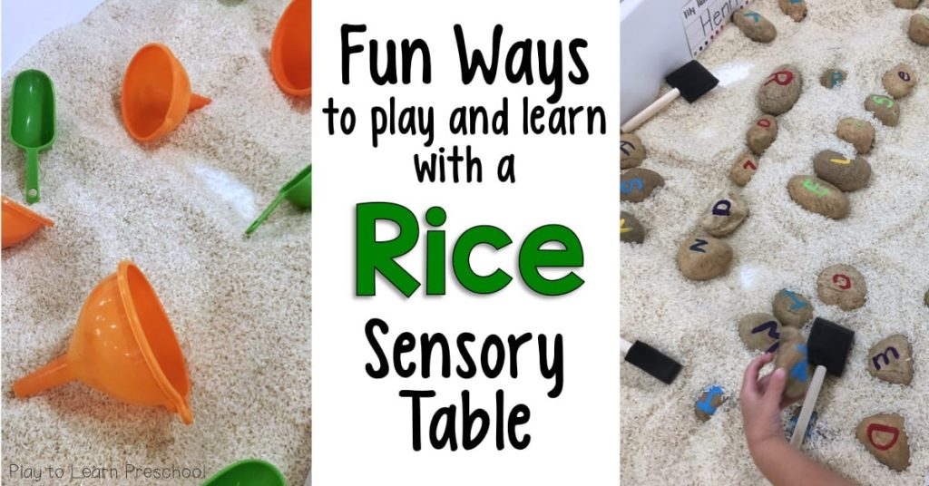Rice Sensory Bin Funnel Stand Accessory