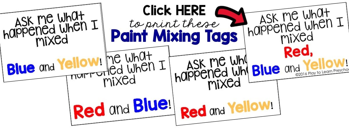 Explore Color Theory with Paint Preschool Art Free Printable Tags