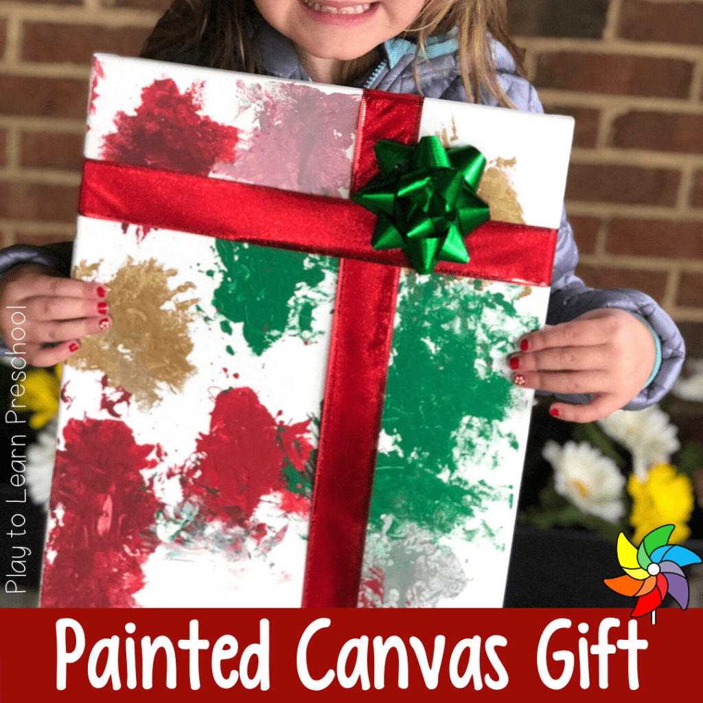 Christmas Gift Bow Painted Canvas Gift From Kids