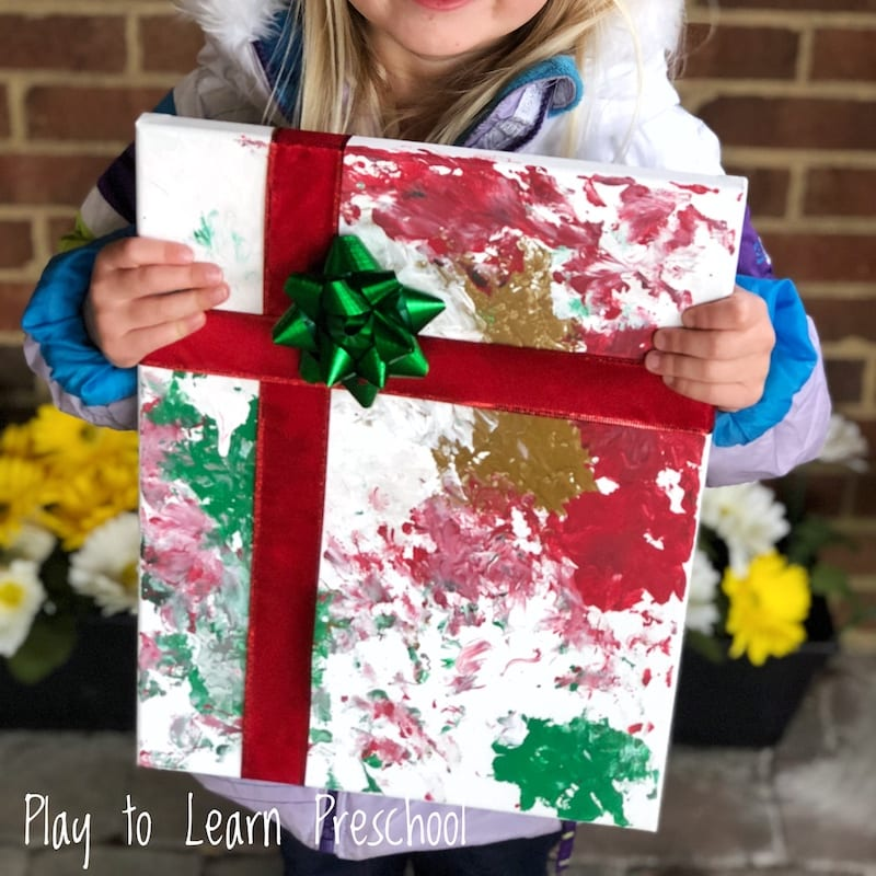 Painted Canvas Christmas Gift that Kids Can Make