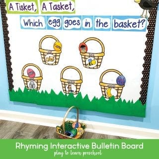 Rhyming Practice Interactive Bulletin Board for Preschoolers