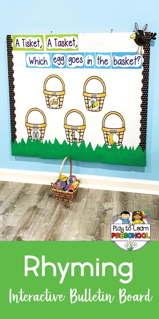Rhyming Practice Interactive Bulletin Board for Preschoolers