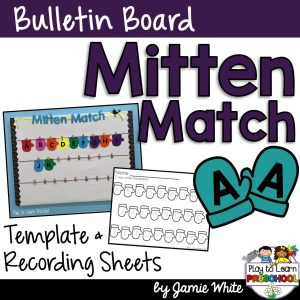 Mitten Matching Bulletin Board set with recording sheets