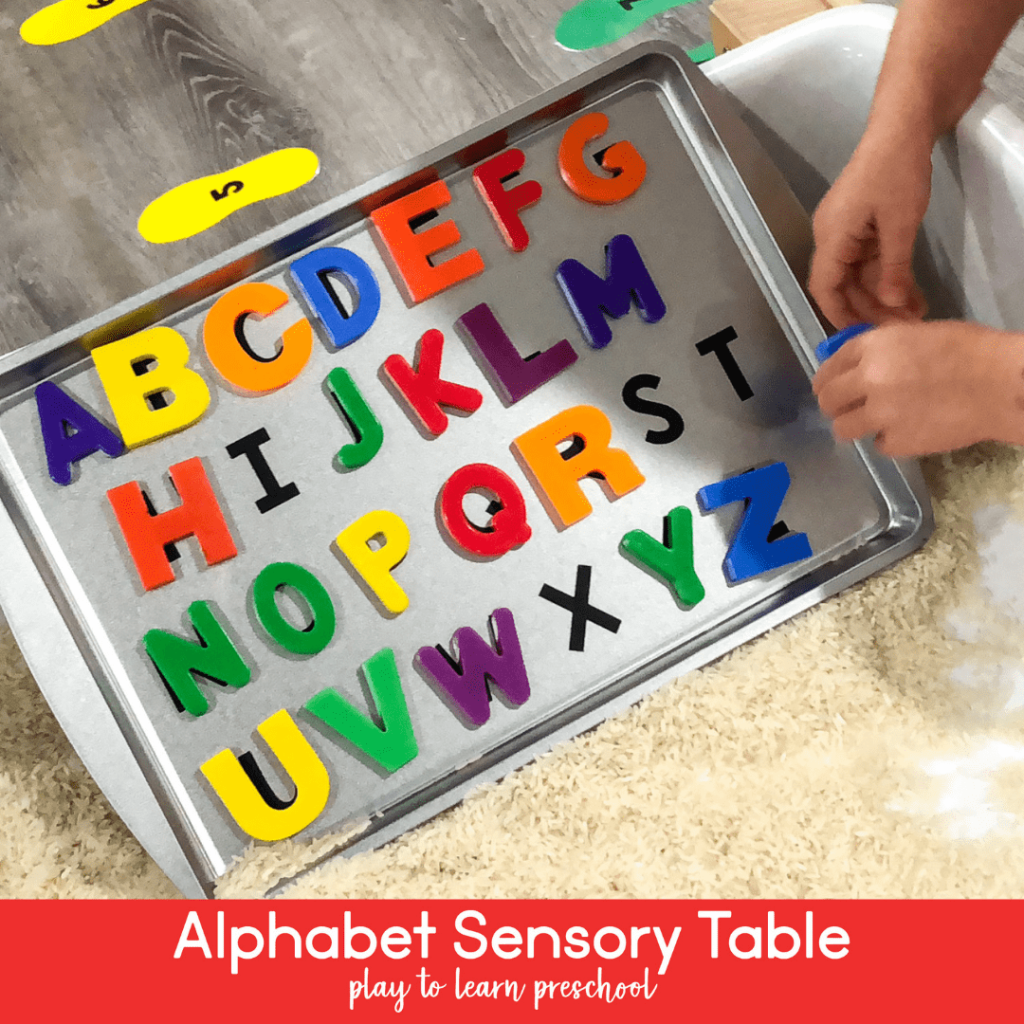 Alphabet Matching at the Sensory Table in Preschool