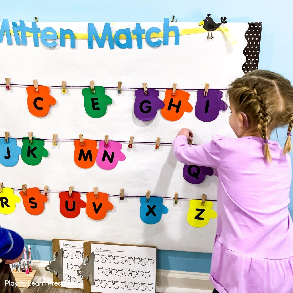 Winter Bulletin Board for Preschoolers - Mitten Matching