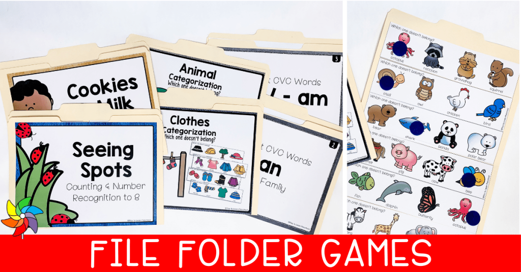 open and closed file folder games