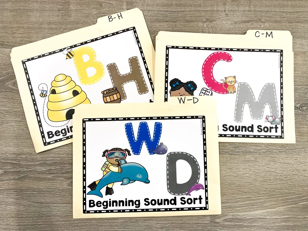 sound sorting file folder games for three letter pairs