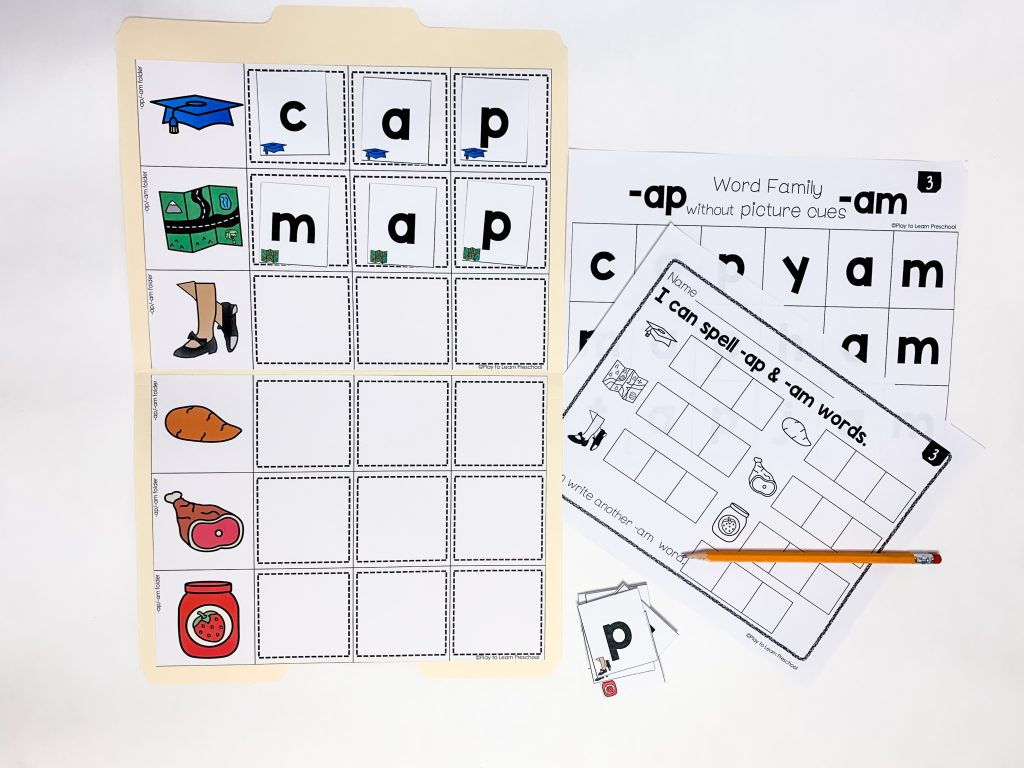 a file folder game for word families with writing sheet